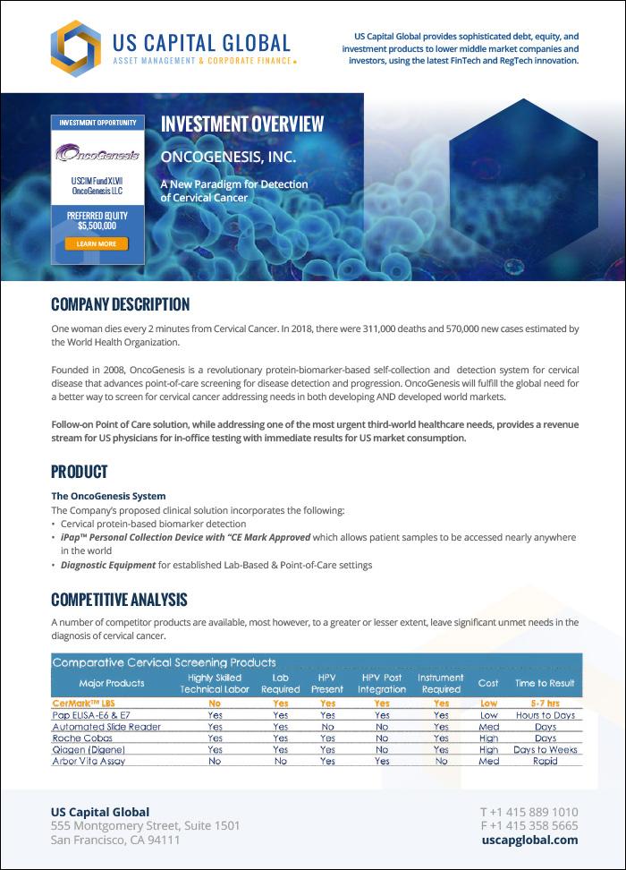 OncoGenesis Exec Summary